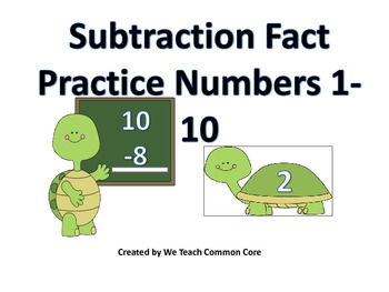 Subtraction Practice Math Center Turtle Themed Activity with Facts Up to 10
