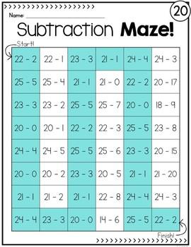 Subtraction Practice Mazes