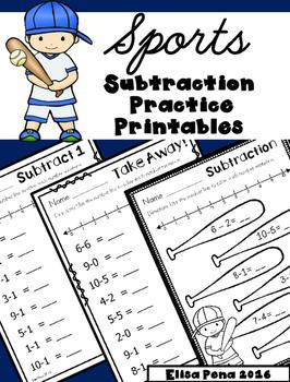Subtraction Practice Printables: Sports Theme