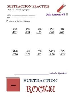 Subtraction Practice Quiz Prep