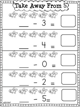 Subtraction Practice Sheets {Take Away From}