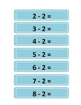 Subtraction Practice Strips - Numbers 1 to 12 - Color