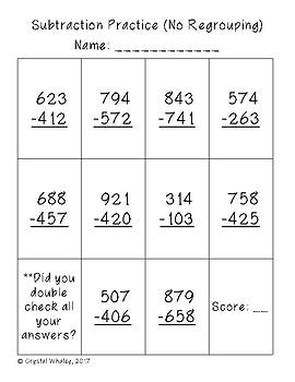 Subtraction Practice Worksheets