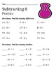 Subtraction Practice and Quiz Sheets for the Subtrahends 1 through 12