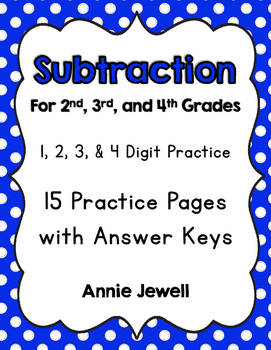 Subtraction Worksheets for 2nd, 3rd, and 4th Grades