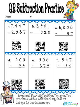FREE 3rd grade Subtraction Practice with QR Codes!