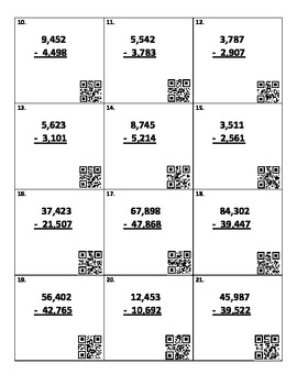 Subtraction Practice with QR Codes