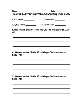 Common Core Subtraction Practice with Related Problem Sets Printables