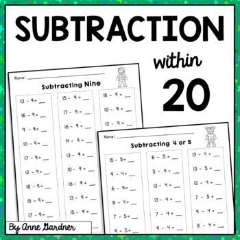 Math Fact Practice: Subtraction to Twenty {Subtracting Zero through Ten}