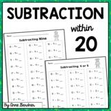 Math Fact Fluency Practice: Subtraction Worksheets {Subtraction within Twenty}