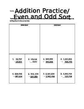 Subtraction Practice/Odd and Even Sort