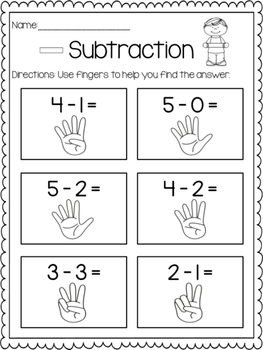 Subtraction Print & Practice: Counting Fingers
