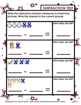 Subtraction - Number Sentence to Match Pictures - Kindergarten/Grade 1/1st Grade