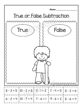 Subtraction Printables and Games in English-kindergarten