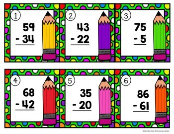 Subtraction Problem Task Cards {2 and 3 Digits}