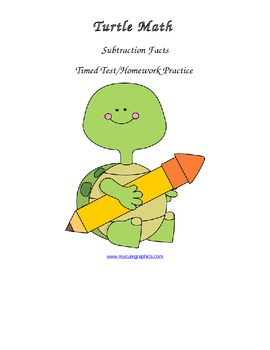 Subtraction Problems - Timed Test/Homework Practice