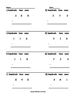 Subtraction Problems Using Place Value