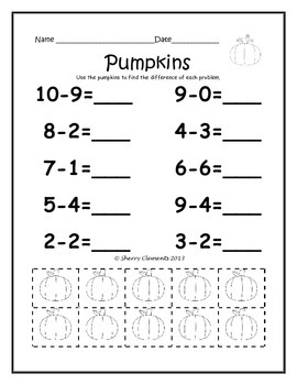 October Subtraction Problems (from 10) with Manipulatives