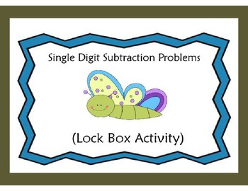 Subtraction Problems with Answers in the Single Digits-Lock Box Escape Room