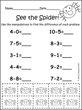 Bugs - Subtraction Problems Creepy Crawlies