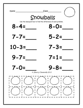 January Subtraction Problems with Manipulatives