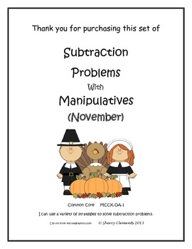 November Subtraction Problems with Manipulatives