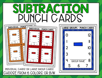 Punch Cards for Subtraction Fact Fluency