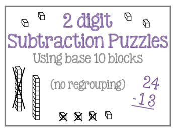 2 digit Subtraction Puzzle (no borrowing) 2.NBT.B.5