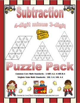 Subtraction Puzzle Pack:  4-digit minus 3-digit numbers