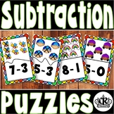 50% OFF! Spring Subtraction Math Center Puzzles