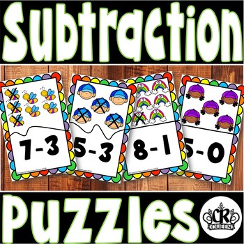 Spring Subtraction Math Center Puzzles