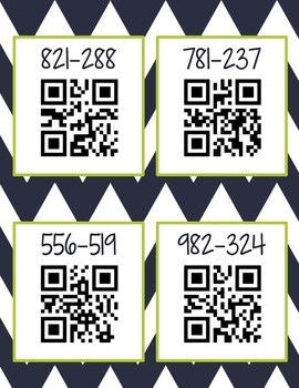 Subtraction QR Codes (Common Core Aligned)