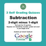 Subtraction Quiz - 2-Digit minus 1-Digit Numbers (Google Forms)