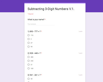 Subtraction Quiz - 3-Digit Numbers (Google Forms)