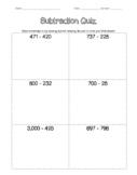Subtraction Quiz (Editable)