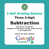 Subtraction Quiz - Three 2-Digit Numbers (Google Forms)