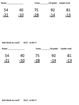 Subtraction Quiz with Regrouping