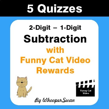 Subtraction Quizzes with Funny Cat Video Rewards (2-Digit - 1-Digit)