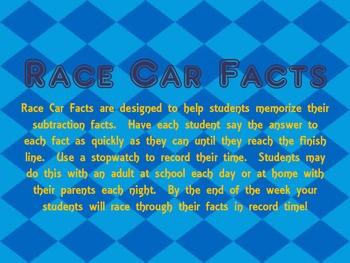 Subtraction Race Car Facts