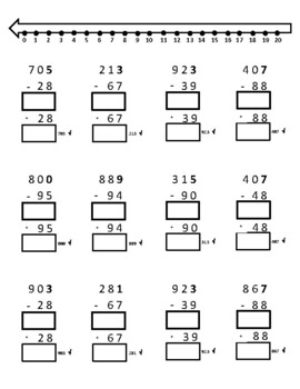 """Subtraction Regrouping With 0-20 Number Line + """"Check Your Work"""" Addition"""