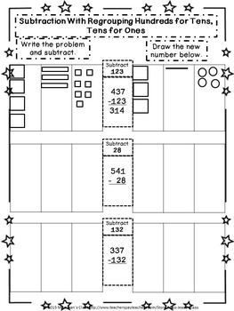 subtraction regrouping hundreds for tens tens for ones student workbook. Black Bedroom Furniture Sets. Home Design Ideas