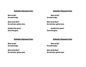 Subtraction Regrouping Poem