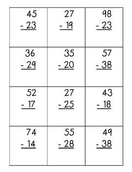 Subtraction Regrouping Sort Pack