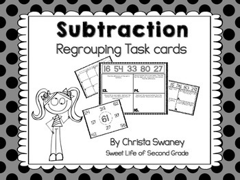 Subtraction Regrouping Task Cards