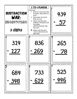 Subtraction Regrouping War Game, 3 and 4 Digit