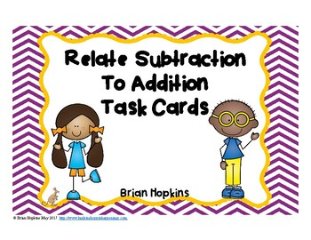 Subtraction Related Facts Task Cards