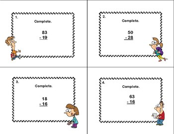 Subtraction Review-Grades 3-5  40 Task Cards