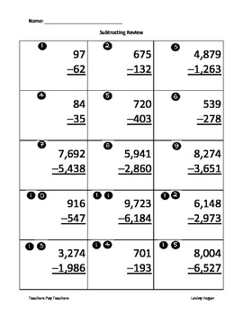 Subtraction Review Sheet or Assessment