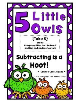 5 Little Owls {Subtraction Rhyming Tab Book}