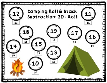 Subtraction Roll & Stack 10 to 15